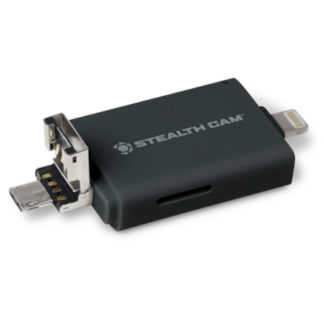 Stealth Cam Tri Card Reader with Adapters for Andrioid IOS and USB