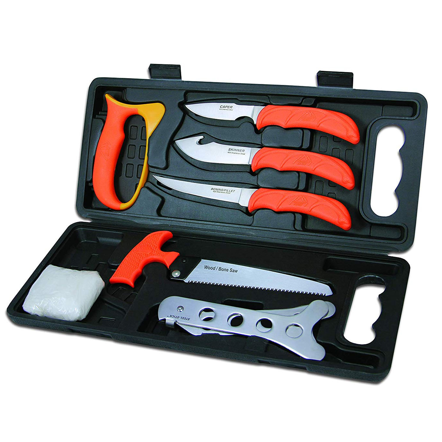 Hunting Skinning Bone Saw Slaughter Knives Utility Set 6 Pieces with Hard Case