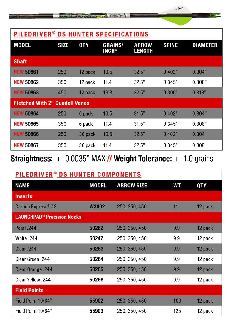 Carbon Express Piledriver DS Hunter Arrow Chart