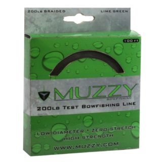 Muzzy Bowfishing Lime Green 200# Braided Bowfishing Line 100 ft spool 1078