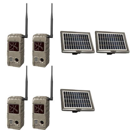 Cuddeback Cuddelink G-Series G-5079 4 Pack Black Flash Cameras With 3 Solar