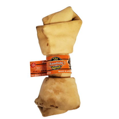 Lennox Rawhide Peanut Butter Knotted Bone Dog Chew 6-7 Inch