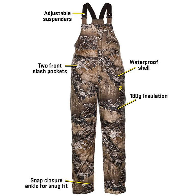 ScentBlocker Clothing SHIELD SERIES DRENCHER INSULATED BIB Waterproof Realtree Excape 1055225-223